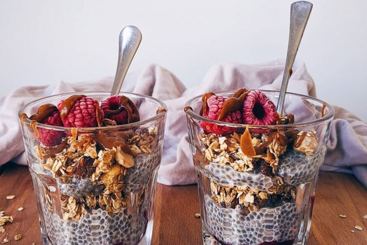 Spiced raspberry and vanilla chia granola parfaits to start the day