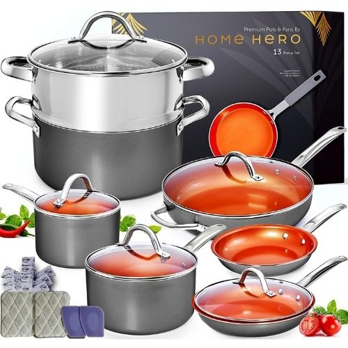 Home Hero 13pc Copper Cookware Set