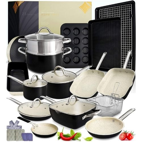 Home Hero 23pc Kitchen Cookware Sets (Black & White)
